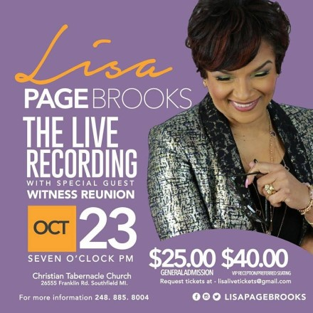 LISA PAGE BROOKS PREPARES FOR HER FIRST LIVE RECORDING ON OCTOBER 23RD!